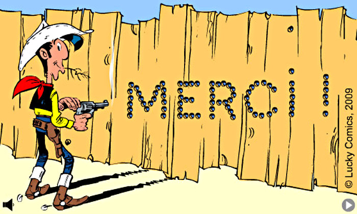 "Lucky Luke dit ""MERCI"""